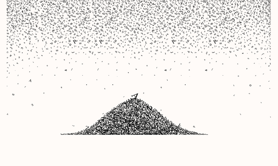letters falling from the sky on to a large pile