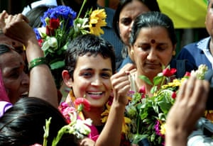 Arundhati Roy in 2002, after being released from jail for contempt of court.