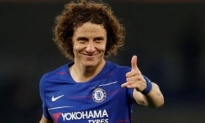 David Luiz celebrates Chelsea's semi-final win over Eintracht Frankfurt