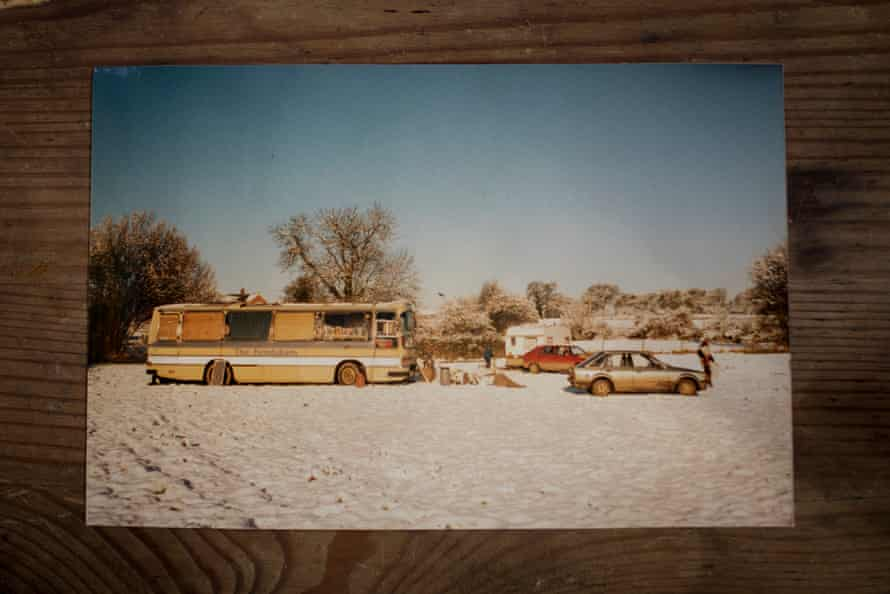 Before Jess bought it, the Bedford Dominant bus, owned by a group of majorettes. This photograph is of the bus parked in Europe during travels around the continent in 199.