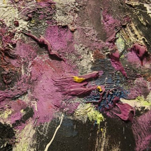 A close-up of Joan Mitchell's Sale Neige (1980)