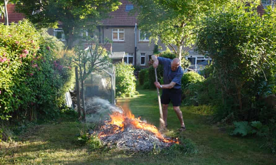 A garden bonfire in Devon, in summer 2015.