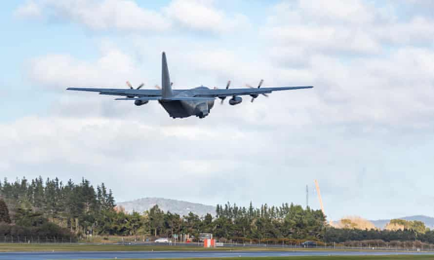 An NZDF C-130 Hercules takes off from Auckland for Afghanistan