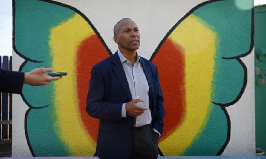 Democratic presidential candidate former Massachusetts governor Deval Patrick speaks with the media after touring a community garden in December in Las Vegas.