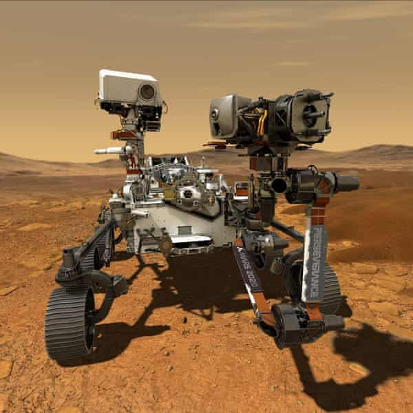 The US Mars rover Perseverence illustrated on the surface of the planet.