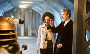 'Why do they say exterminate?' … Mackie and Peter Capaldi with a dalek on the set.