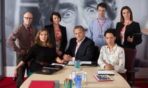 Dolan, third from left, in W1A.