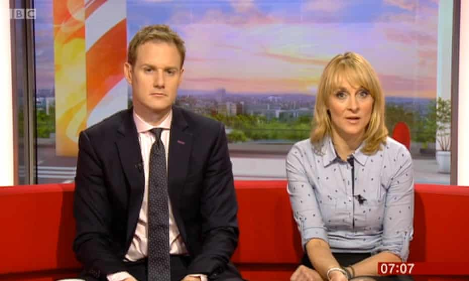 Dan Walker and Louise Minchin on BBC Breakfast: he always sits on the left of the sofa.