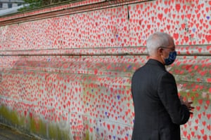 Justin Welby visiting the National Covid Memorial Wall in London yesterday.