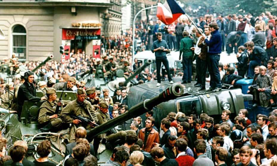 Spirit of 1968 … residents surround Soviet tanks in  Prague, Czechoslovakia. (AP Photo/Libor Hajsky/CTK)
