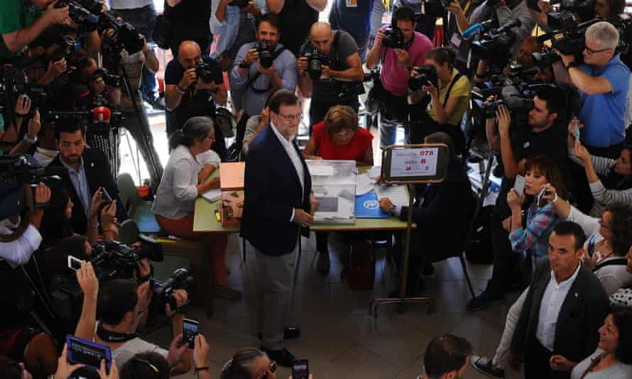 Mariano Rajoy, Spain's acting prime minister, casts his vote.