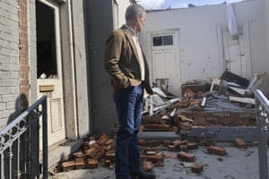 Tennessee governor Bill Lee surveys the damage after the tornadoes destroyed at least 40 buildings, killed at least 19 people and left hundreds homeless.