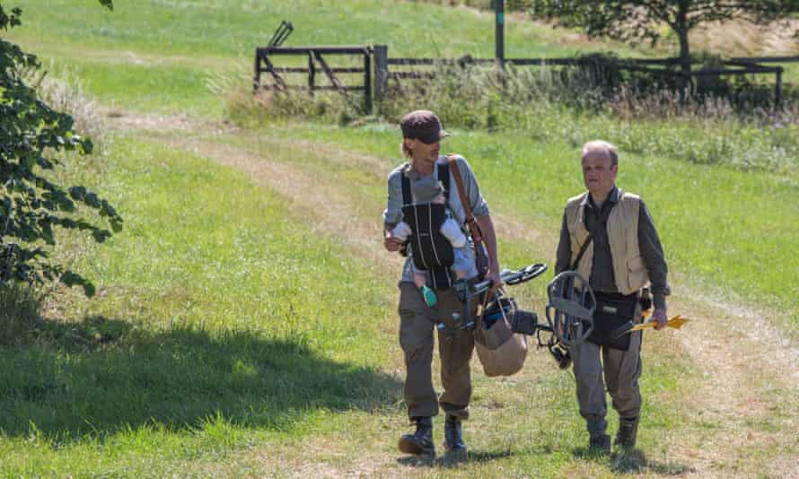 Mackenzie Crook and Toby Jones as Andy and Lance with baby Stanley, in Detectorists 2