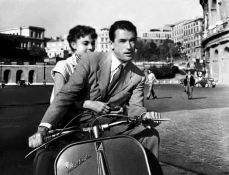 Audrey Hepburn and Gregory Peck on a Vespa in Roman Holiday