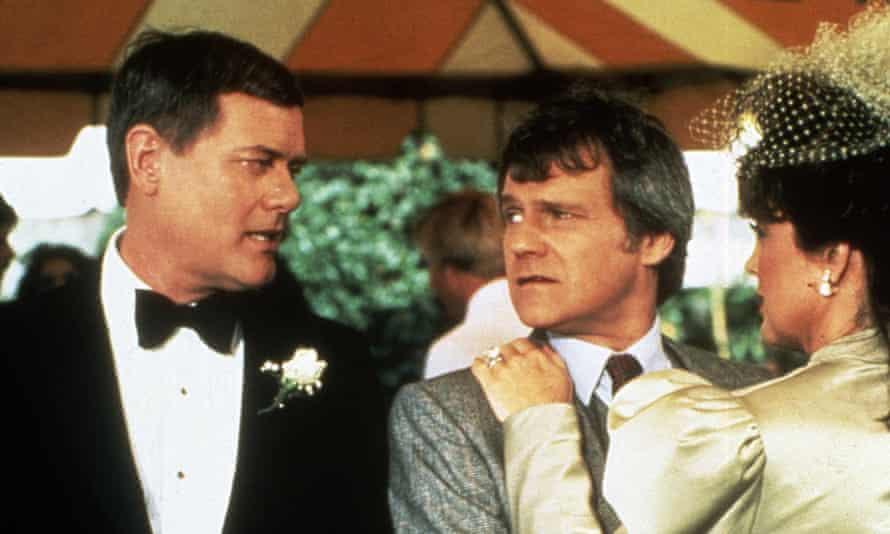 Ken Kercheval as Cliff Barnes, centre, in a Dallas episode from 1978, with Larry Hagman as JR Ewing and Linda Gray as Sue Ellen, Ewing's wife with whom Barnes had an affair.