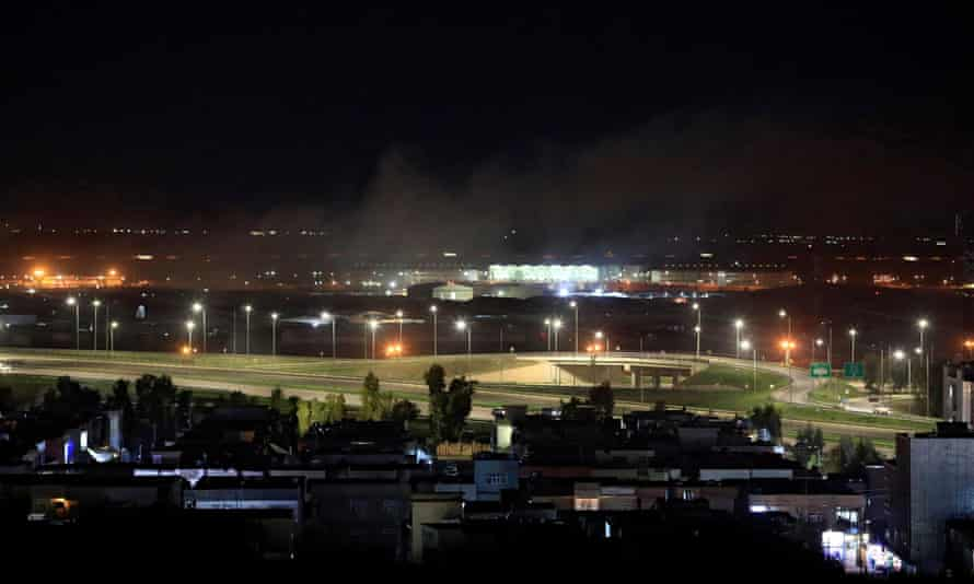 Smoke rises over Erbil airport, after an attack.