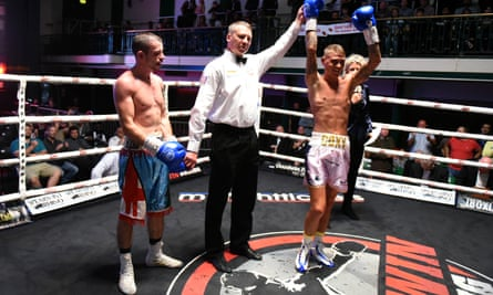 Sam Cox (right) gets the decision over Steven McGuire at York Hall in Bethnal Green during September last year.