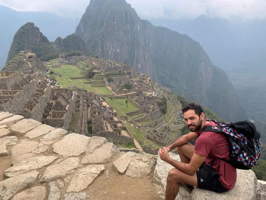 Michael Raymond overlooks Machu Picchu in Peru