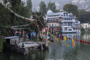 By the lake in the beautiful hill town of Nainital.