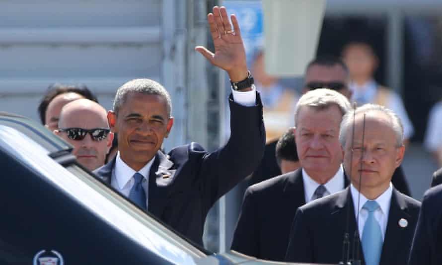 Barack Obama arrives for the G20 Summit in Hangzhou.