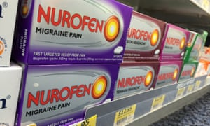 Nurofen pain relievers targeting specific types of pain are seen on a pharmacy shelf in Sydney in 2015.