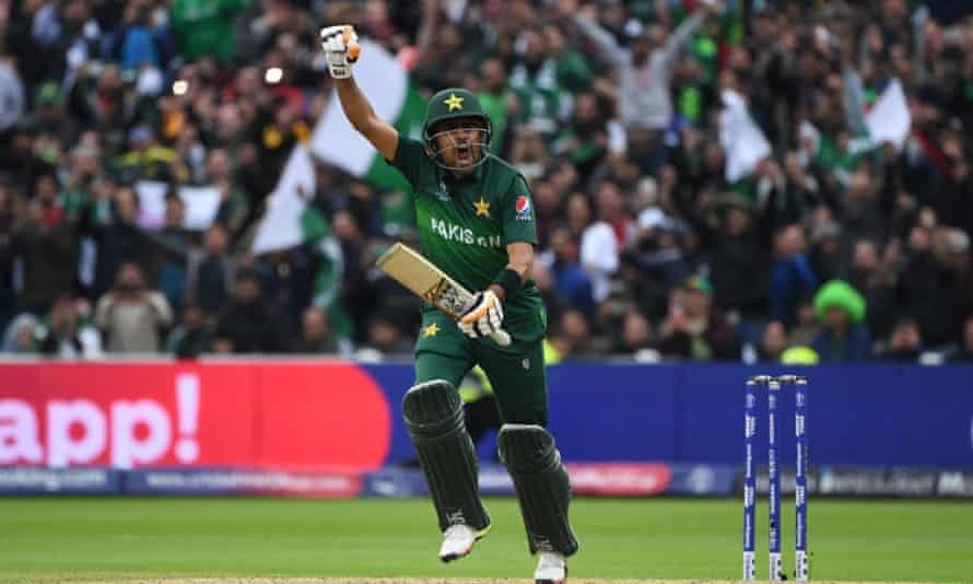 Pakistan's Babar Azam celebrates after scoring a century