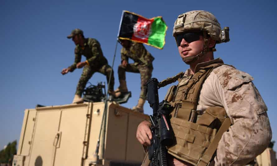 A US Marine during a training exercise in Afghanistan in 2017.