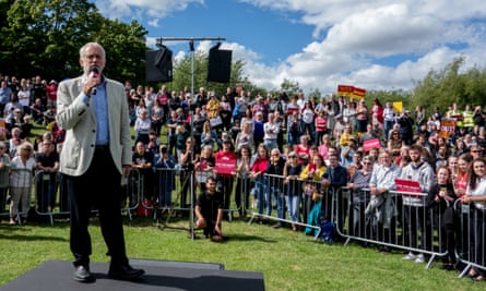 Jeremy Corbyn at a rally in Shropshire