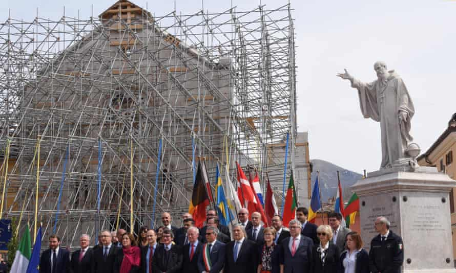 EU delegates in the earthquake-hit town of Norcia, central Italy, on Friday
