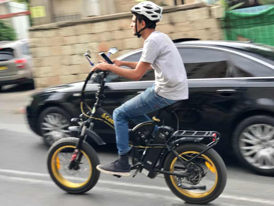 Riding an electric bike in Jerusalem