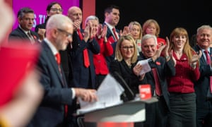 Members of the shadow cabinet listening to Jeremy Corbyn speech at the Labour manifesto launch.