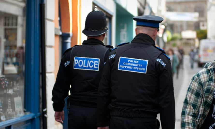 Regular Police Officer and Police Community Support Officer on the beat together,Falmouth, Cornwall, England,UK.