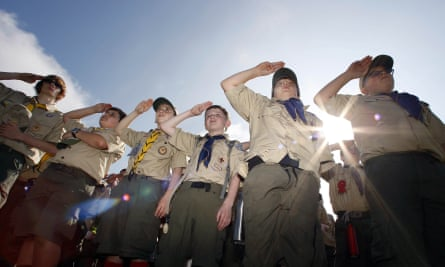 Boy Scouts salute during a 'camporee' in Sea Girt, New Jersey, 11 October 2017