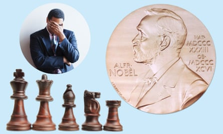 Composite man, chess pieces, Nobel prize medal