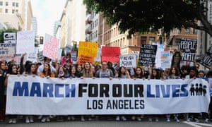 Demonstrators participate in the March for Our Lives rally on Saturday in Los Angeles, California.