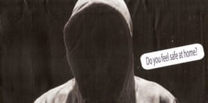 A black envelope emblazoned with a hooded figure and the question 'Do you feel safe at home?' was sent to residents in the federal marginal seat of La Trobe
