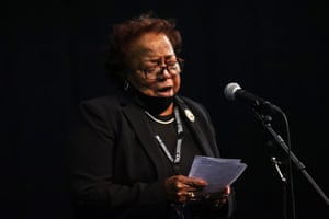 """Ethel Mae Tyner, sister of John Lewis, speaks during """"The Boy from Troy"""" service. Ceremonies are planned for the next six days honoring the life of civil rights icon John Lewis which will trace his journey from his childhood in Troy, Alabama, to his historic return to Selma following the Montgomery voting rights trail, to his distinguished career as a member of congress in Washington, DC and finally to his funeral at the historic Ebenezer Baptist Church in Atlanta."""