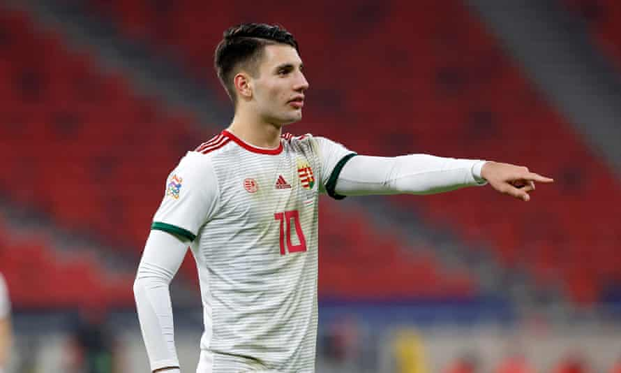 Dominik Szoboszlai in action for Hungary during the Nations League game against Serbia in November.