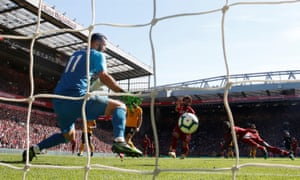 Sadio Mané scores his second goal of the afternoon.