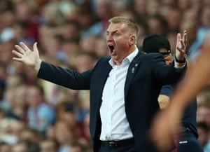 Aston Villa manager Dean Smith reacts as Anwar El Ghazi scores the second to secure Villa's first three points of the season.