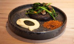 Mushroom suya with malted barley bread.