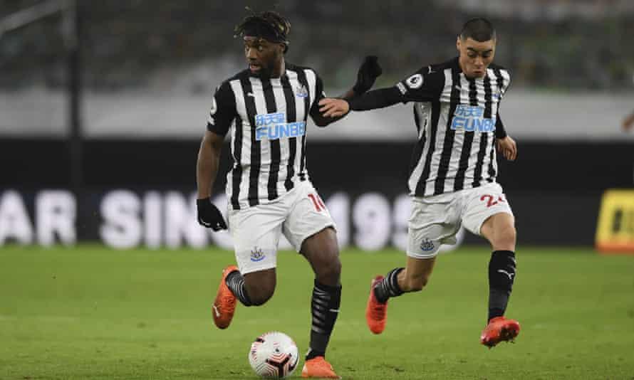Newcastle's Allan Saint-Maximin and Miguel Almirón