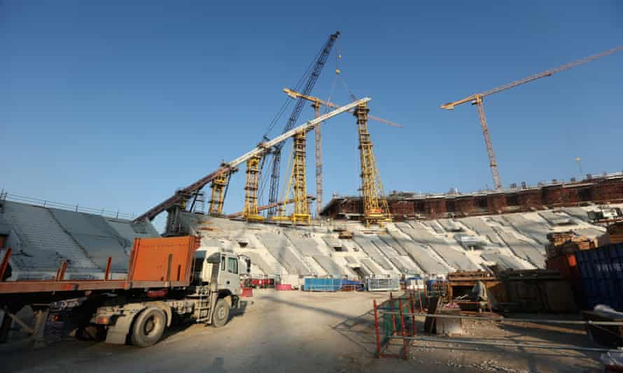 Construction continues on the Khalifa International Stadium before the 2022 World Cup in Qatar; preparations for the tournament have been beset by criticism over the rights of migrant workers building the stadiums and infrastructure.