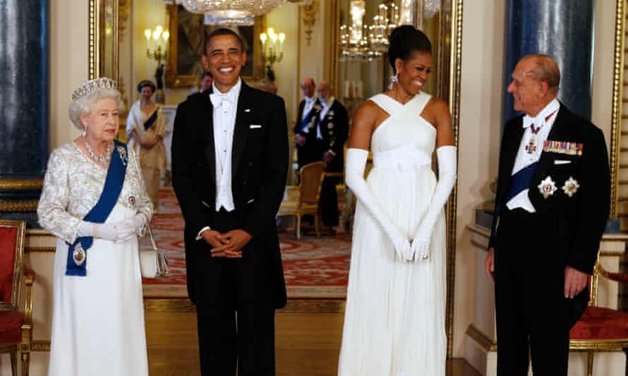 Queen Elizabeth II and Prince Philip greet Barack and Michelle Obama at Buckingham Palace in 2011.