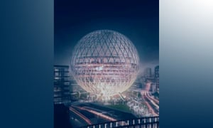 Design for a spherical glass concert venue in east London