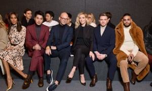 The front row at Marc Jacobs. From left to right: Carla Bruna, Mark Chao, Mark Langer, Vanessa Kirby, Richard Madden and Maluma.