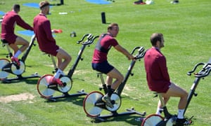 Mark Noble (second right) and West Ham squad get involved in keep-your-distance style training at Rush Green.