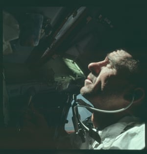 Walter Cunningham occupying the lunar module pilot seat during the Apollo 7 mission, 1968