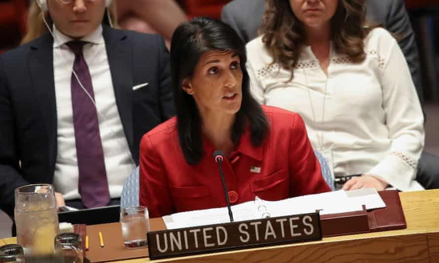 Nikki Haley speaks during an emergency meeting of the UN Security Council after North Korea tested an intercontinental ballistic missile this week.