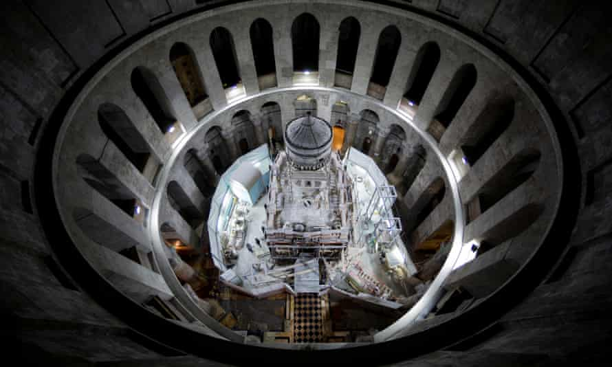Restoration work takes place on the tomb of Jesus in the Church of the Holy Sepulchre in Jerusalem.